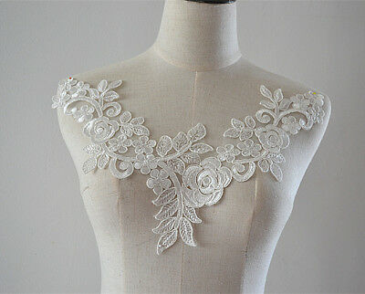 Sew on Wedding Dress Accessories Off White Lace Motif Embroidery Applique 1 PC
