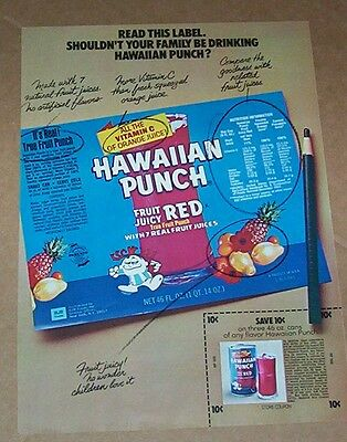 1973 vintage ad - Red HAWAIIAN PUNCH drink PUNCHY 1-page PRINT AD