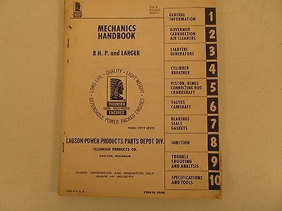 Tecumseh Engines Mechanics Handbook Manual 8 HP and Larger circa 1967 691462