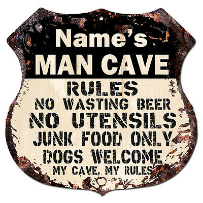 BPG0007 RICHARD/'S GARAGE TOOL RULES Rustic Shield Sign Man Cave Decor Funny Gift