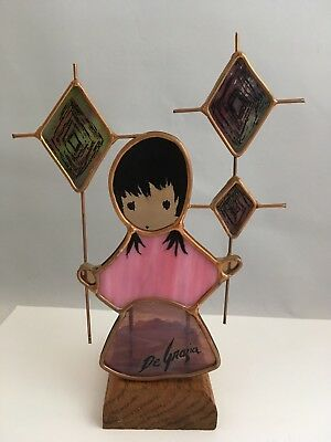 Vintage-De Grazia Stained Glass Girl-Child-Signed-Candle Holder- Wood Base-Cute!