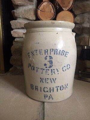 3 Gallon Enterprise Pottery Company Stoneware Crock New Brighton Pennsylvania