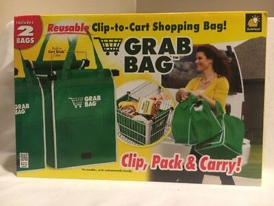 2 Reusable Grocery Grab Bag Shopping Cart Clip, Pack, Carry