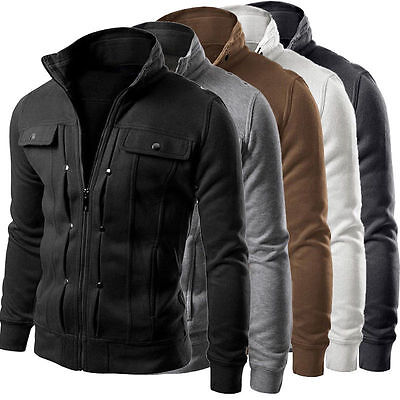 Men's Military Jacket Slim Fit Stand Collar Coat Tops Winter Outwear Blazer US