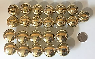 Lot of 23 Vintage Heavy Solid Brass Round Cabinet Drawer Door Pull Knob 4lbs 2oz
