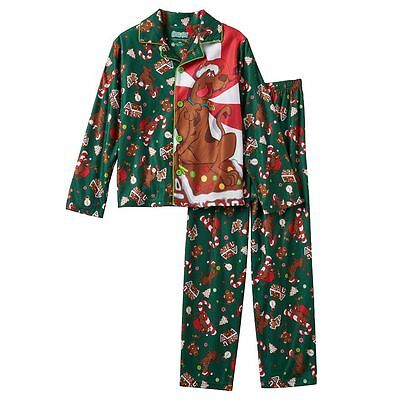 NWT Kids SCOOBY DOO CHRISTMAS HOLIDAY 2 PC Set GREEN PAJAMAS PJS Size 6/7