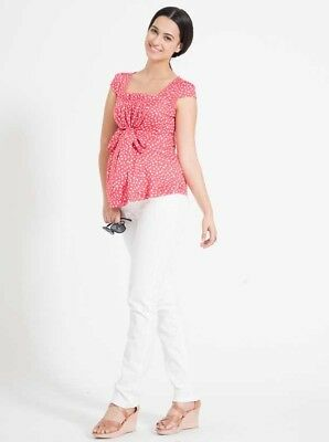 Mid Waist Maternity Straight Pants in White