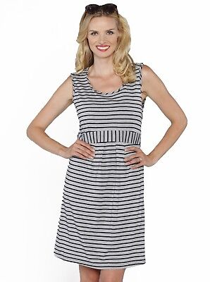 Shoulder Clasp Nursing Dress - Grey Stripes