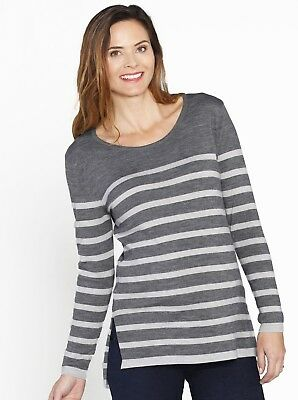 Maternity Lightweight Knitted Wool Top - Grey Stripes