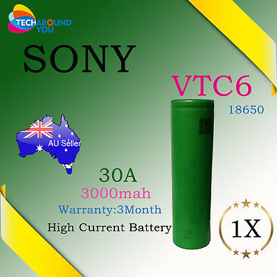 Sony US18650 VTC6 3000mAh 30A HIGH CURRENT Rechargeable Lithium Battery Vape mod