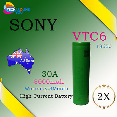 2x Sony US18650 VTC6 3000mAh 30A HIGH CURRENT Rechargeable Lithium Battery E-cig