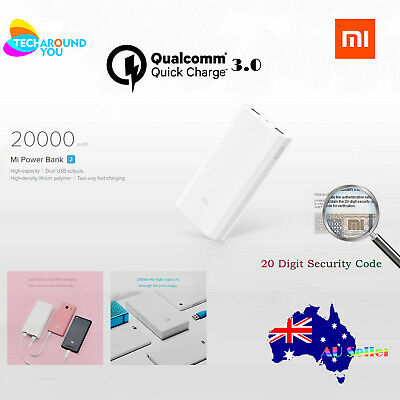 Genuine Xiaomi 20000mAh Mi Phone Power Bank2 QC3.0 USB Battery Fast Charge phone