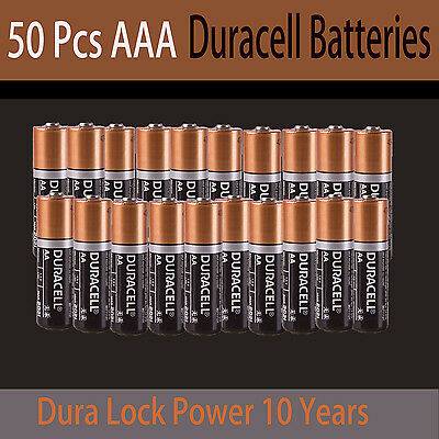 50X Genuine Duracell AAA Batteries Alkaline 1.5V Dura Lock Power 10 Year battery
