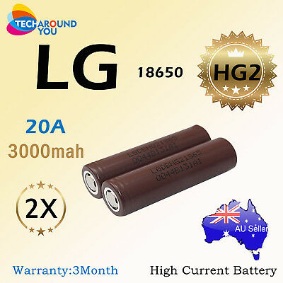 2x LG HG2 18650 3000mAh 20A HIGH CURRENT rechargeable Lithium batteries LGHG2