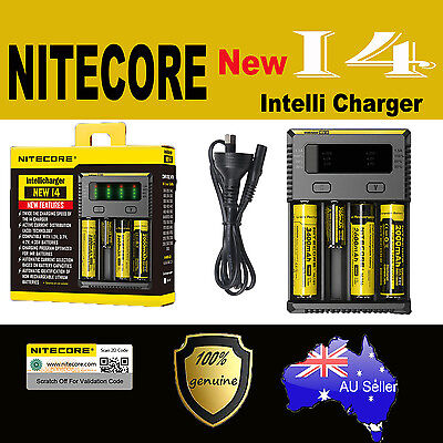 Nitecore New I4 Smart Battery charger Lithium 17500 14500 10440 16340 RCR123 AAA
