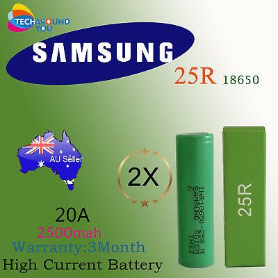 2x Samsung 18650 2500mAh 25R Lithium Rechargeable Battery INR18650-25R VAP E-Cig