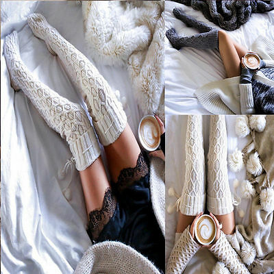 Women Cable Knit Extra Long Boot Socks Over Knee Thigh High School Stocking Warm