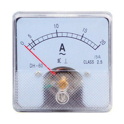 1PC Class 2.5 Analog Panel AMP Current Meter AC 0-20A Ammeter DH-60 60*60