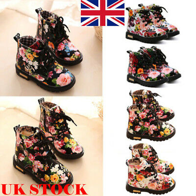 Kids Girls Toddler Flowers Mid-Calf Martin Shoes Anti-Slip Lace Up Ankle Boots