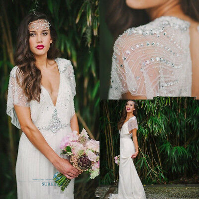 Fancy Boho White Sequins Wedding Dresses Backless Ivory Bridal Gowns Brautkleid
