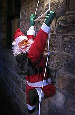 NEW 1.2m high (4FT) SANTA CLAUS Climbing on Rope Ladder Outdoor Christmas