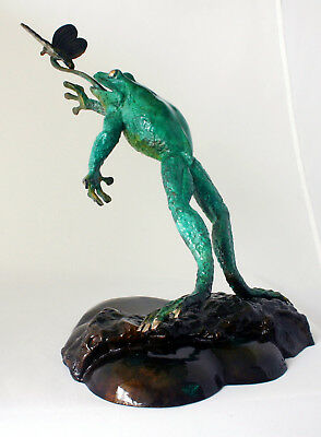 Sculpture Bronze Statue Wildlife Real Bronze Leaping Frog  Signed Eddie Wentorf
