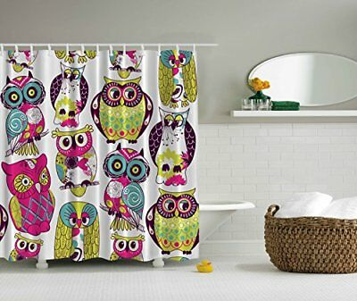 Owl Decor Extra Long 84 Inch Shower Curtain Fuchsia Green Yellow White