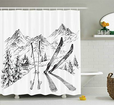 Sports Decor Shower Curtain By Ambesonne Winter Activity Skiing With Gear Set