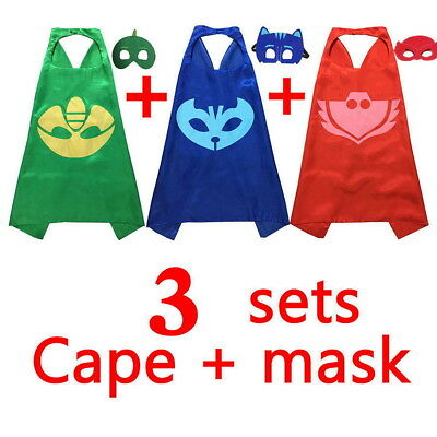 3 Sets Kids Superhero PJ Mask Cape Costume Cloak Party Halloween Cosplay Kit