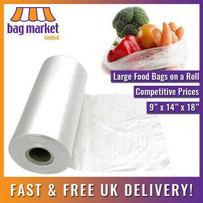 "250 x Clear HD Polythene Bags On A Roll! | 9"" x 14"" x 18"" 