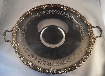 Vtg Wm Rogers Silverplate Handled Gallery Tray Eagle & Star Marking 1940's (118)