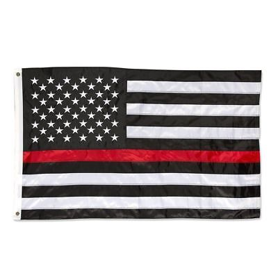 3' X 5' 3x5 Red Line Thin Fire Fighter Department Embroidered Double Sided Flag