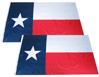 2 PACK - 3x5 Ft TEXAS State Flag Lone Star US American Grommets Polyester Flag b