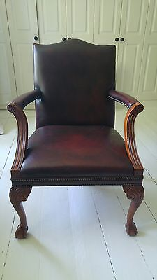 Antique brown leather desk chair armchair
