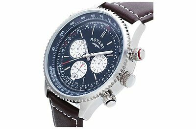 Rotary Men's Stainless Steel Chronograph Leather Strap Watch