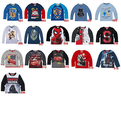Langarmshirt T-Shirt Pullover Paw Patrol LEGO Star Wars Spiderman Disney Cars