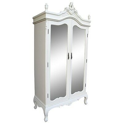 Elegant French Ivory / Cream Double Mirrored 2 Door Double Armoire / Wardrobe