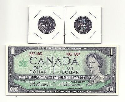 Lot of 1967 CANADA CENTENNIAL ONE DOLLAR BANK NOTE and 2 x 1867-2017 25 CENTS