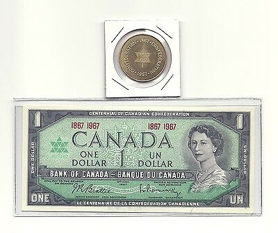Lot of 1967 CANADA CENTENNIAL ONE DOLLAR BANK NOTE and CONFEDERATION COIN