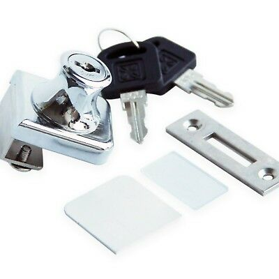 Glass Display Cabinet Showcase Lock for  Glass Door No Drill with 2 Keys  Chr...