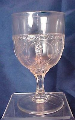 EAPG Parrot and Fan or Owl and Fan Goblet Richards & Hartley