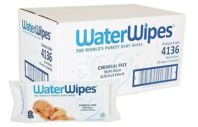 4 X Water Wipes The World's Purest Baby Wipes Chemical Free Natural 99.9% Water
