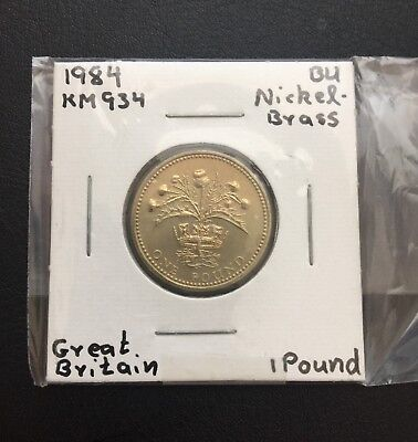 Great Britain 1 Pound Nickel Brass coin 1984 KM 934 BU