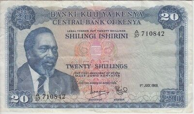KENYA BANKNOTE P8a-0842 20 SCHILLINGS 1969, SMALL TEAR AT TOP & LOWER EDGE, F-VF