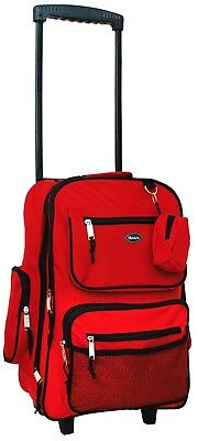 "HiPack 19"" Rolling Backpack Carry-on Luggage Wheeled Bag - Overnighter Red"