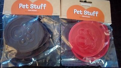 NEW 6 x standard tin covers dog cat pet food can cover lid 7.5cm 75mm Rosewood