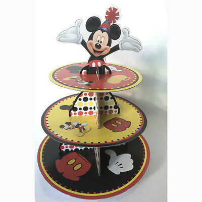 1 Set Mickey Mouse Paper Cake Stand Kids Birthday Party Decoration Baby Shower
