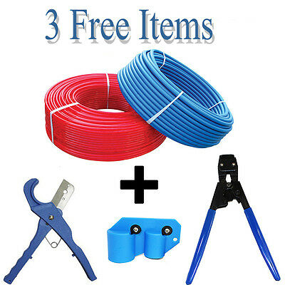 """2 Rolls 1/2"""" x 300 feet RED+BLUE PEX Tubing for Potable Water NonBarrier 3 FREE"""