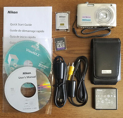 Nikon COOLPIX S3100 14.0MP Digital Camera - Silver - EXCELLENT USED CONDITION