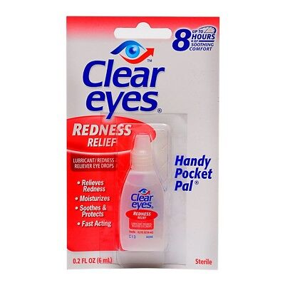 2 PACK CLEAR EYES DROPS REDNESS RELIEF DRY EYES 0.2 OZ .6 ML LOT Packs EXP(2019)